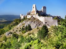 The Castle of Cachtice. A view of ruined Castle of Cachtice situated in the mountains above the Cachtice village in the west of Slovakia in Trencin region. The Stock Photography
