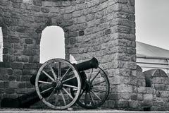 Castle and cannon near the brick. Wall in Baku Azerbaijan stock photo