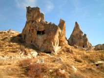 Castle in Cappadocia. Beautiful landscape in Cappadocia with abandoned ruins royalty free stock photography