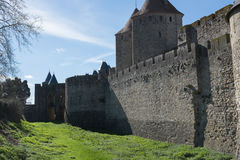 Castle of carcasonne ( france ). An old Castle in France with blue sky royalty free stock image