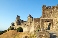 Castle of Carcassone 2. Castle of Cracassonne's Citadel from the Door of Aude at late afternoon Stock Photo