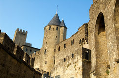 Castle of Carcassonne 3. Castle of Cracassonne's Citadel from the ramp of the Door of Aude at late afternoon Royalty Free Stock Photo