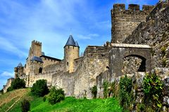 Castle of Carcassonne, France. Ancient walls of the castle at Carcassonne, France Stock Photos
