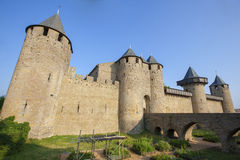 Castle of Carcassonne. Is a medieval fortified French town in the Region of Languedoc-Roussillon, France Stock Images