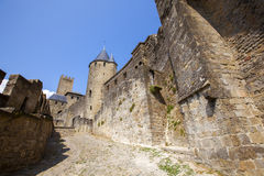 Castle of Carcassonne. Is a medieval fortified French town in the Region of Languedoc-Roussillon, France Stock Photos