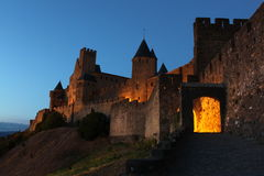 Castle Carcassonne at night Stock Photos