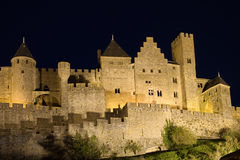 Castle of Carcassonne at night Royalty Free Stock Photo