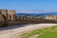 Castle of Carcassonne and Pic du Canigou Royalty Free Stock Images