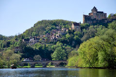 Castle of Castelnaud. Tourism in La Roque Gageac in France Stock Photography