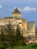 Castle , Castelnaud-la-Chapelle (France ). Castle in Dordogne at dusk one day of spring Royalty Free Stock Photography