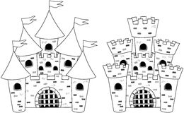 Castle Castels Cartoon Colouring Book Isolated. Two Cartoon castles for colouring book isolated white background. Eps available stock illustration