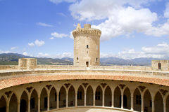 Castle Castillo DE Bellver in Majorca Stock Afbeelding