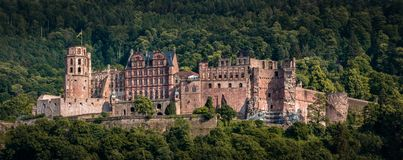 The castle castle ruin in Heidelberg, Baden Württemberg, Germany. Panorama close-up of the heidelberger castle Stock Photos