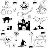 Castle cat ghost hat element of halloween doodle Royalty Free Stock Images