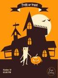 Castle cat pumpkin flyer Royalty Free Stock Images