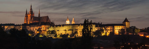 Castle and Cathedral of Prague at night Stock Photos