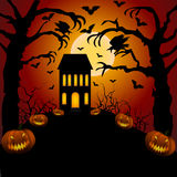 Castle, cemetery and raven. Halloween card with castle, cemetery and raven Stock Photos