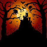 Castle, cemetery and raven. Halloween card with castle, cemetery and raven Royalty Free Stock Images