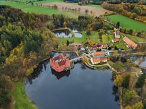 Castle Cervena Lhota in Czech Republic - aerial view. Travel and architecture background stock photos