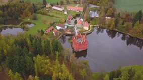 Castle Cervena Lhota in Czech Republic - aerial view stock footage