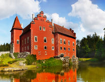 Castle Cervena Lhota, Czech republic. Romantic red castle - Cervena Lhota. Water Chateau, Czech Republic stock photo