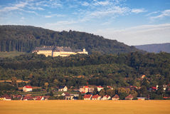 Castle Cerveny kamen and village Casta, Slovakia Stock Images