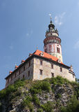 Castle in Cesky Krumlov. Tower of the chateau in the historical city of Cesky Krumlov, Czech Republic Stock Photo