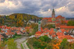 Castle Cesky Krumlov, Czech republic. Sunset. Beautiful picture with an ancient medieval city, dramatic sky and romantic atmosphere Royalty Free Stock Photos