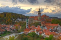 Castle Cesky Krumlov, Czech republic. Sunset. Beautiful picture with an ancient medieval city, dramatic sky and romantic atmosphere Stock Images