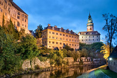 Castle of Cesky Krumlov by night, Bohemia Royalty Free Stock Photo