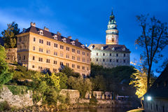 Castle of Cesky Krumlov by night, Bohemia Royalty Free Stock Image