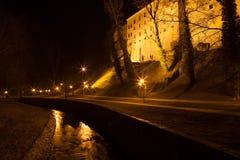 Castle of Cesky Krumlov at night, Czech Republic Stock Photo