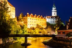 Castle in Cesky Krumlov at nigt in Czech stock photography