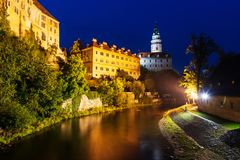 Castle in Cesky Krumlov at nigt in Czech royalty free stock images