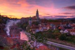 Castle Cesky Krumlov - sunset stock photo