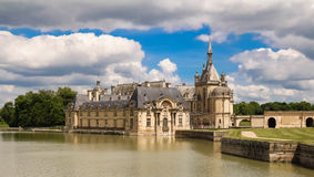 The castle of Chantilly is historical and architectural monument, France.