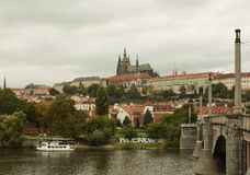 Castle and Charles bridge in Prague. At the day time Royalty Free Stock Photos