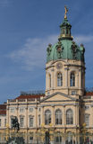 Castle Charlottenburg. Frontview of castle charlottenburg, with fence, dome and statue fortuna. The building was inaugurated at the 11.June.1699 royalty free stock photo