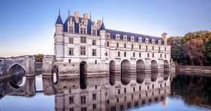 Castle or chateau de Chenonceau at sunset, France stock image