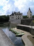 Castle of Chenonceau with boats stock photos