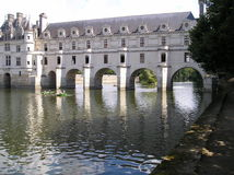 Castle of Chenonceau with boats Royalty Free Stock Photo