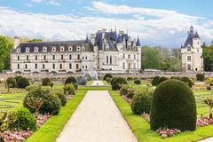 Castle Chenonceau with garden, Loire Valley, France royalty free stock images