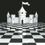Castle on chessboard Royalty Free Stock Photos