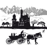 Castle with children in horse and carriage  Stock Images