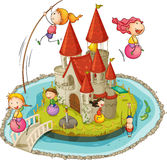 Castle and children Stock Image