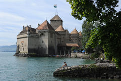 Castle Chillon on lake Leman near Montreux Royalty Free Stock Images