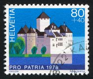 Castle Chillon. SWITZERLAND - CIRCA 1978: stamp printed by Switzerland, shows castle Chillon, circa 1978 stock images