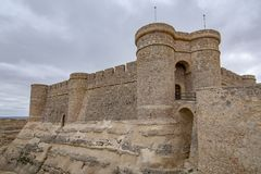 Castle of Chinchilla de Montearagon, province of Albacete, Spain. Chinchilla de Montearagon, Albacete, Spain; February 2017: Gate of castle of Chinchilla de royalty free stock photography