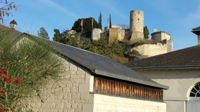 Castle in Chinon France. View of medieval stone fortress castle on hill in Chinon Loire valley France Royalty Free Stock Photo