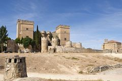Castle and church  of Ampudia, Tierra de Campos, Palencia provin Royalty Free Stock Images